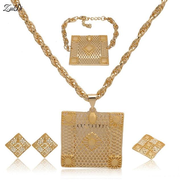 ZuoDi Woman Accessories Jewelry Set Dubai Gold Color Sets Wholesale Fashion African Beads