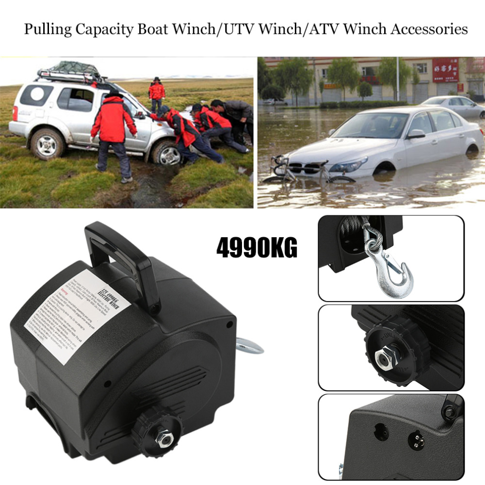 Convenient Powerful <font><b>2000LB</b></font> Pulling Capacity Boat Winch/UTV Winch/ATV Winch Accessories with 5m Power Cord good quality image