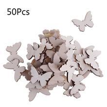 50 pçs/saco corte a laser madeira borboleta enfeite forma de madeira artesanato decoração do casamento