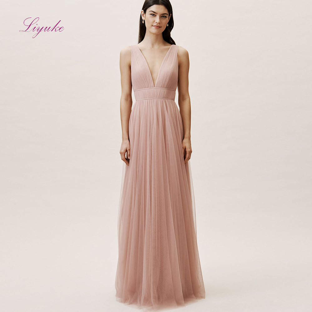 Liyuke A line   Bridesmaid     Dress   Long   Dress   O-neck Draped Tank Sleeves Backless Tulle Customized Free Shipping