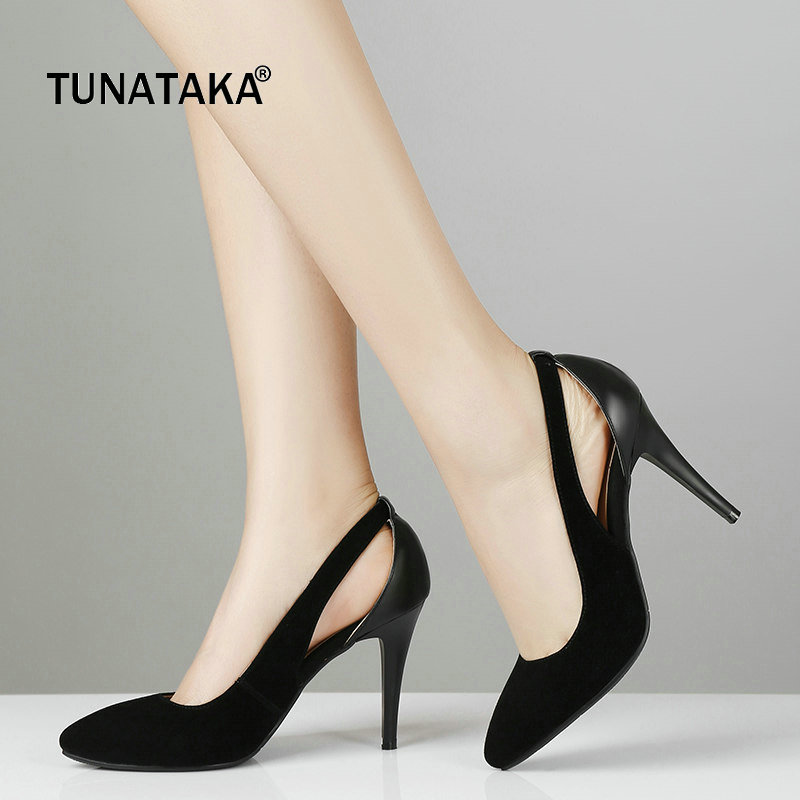 Sexy Thin High Heel Pointed Toe Suede Woman Pumps Fashion Slip On Party Lazy High Heel Shoes Ladies Black Blue