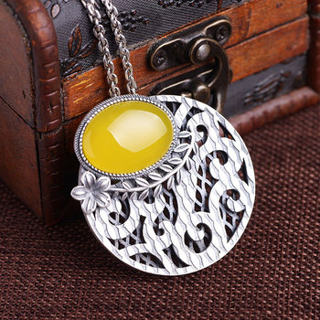 FNJ 990 Silver Round Pendant Flower Yellow Chalcedony Stone Punk Original Pure S990 Thai Silver Pendants for Men Jewelry Making