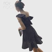 Women summer navy white polka dot sleeveless ruffles A Line mini dress sexy one shoulder sundress robe femme LT2136 free ship
