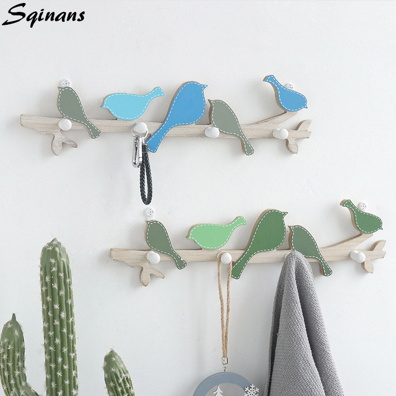 Sqinans Wood Wall Hook Key Holder Wooden Clothes Hanger Wall Coat Hook Home Decoration Key Hanger Wall Storage Rack Shelf