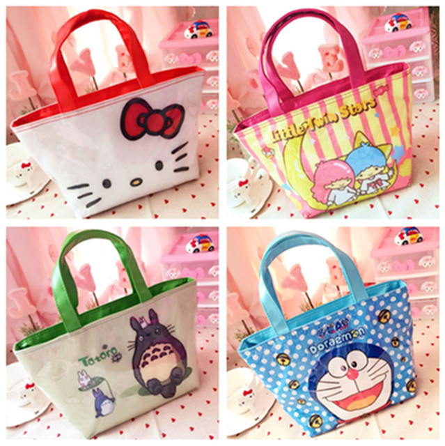 0a9fdfc611 Cute Hello Kitty Little Twin Stars Totoro PVC Waterproof Insulated Lunch  Tote Bags for Women Girls