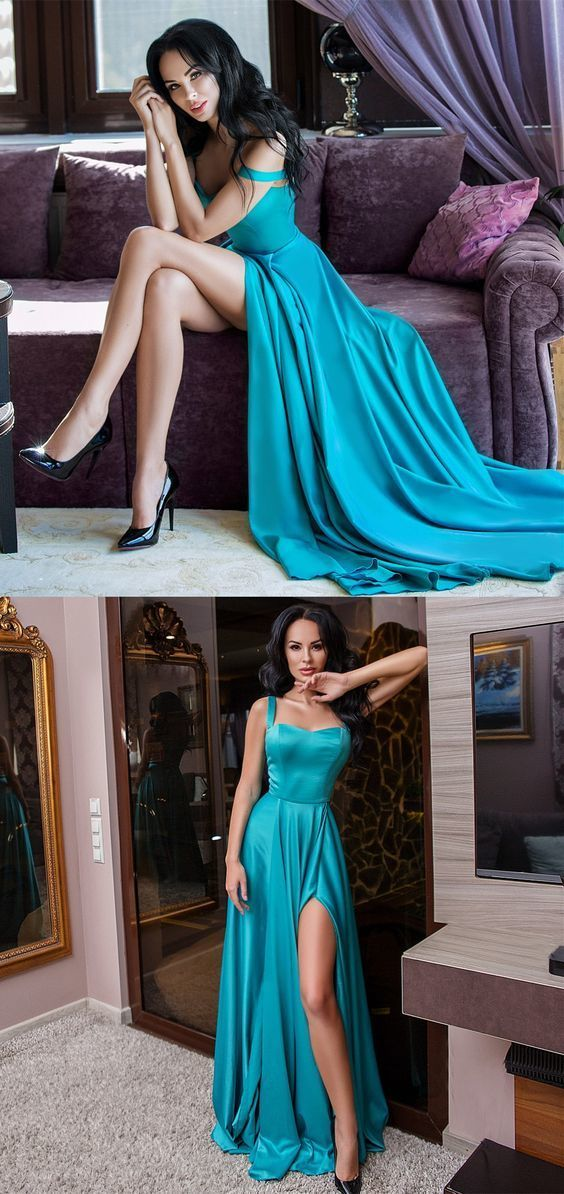 A-Line Straps Floor Length Turquoise Satin Prom Dress with Split