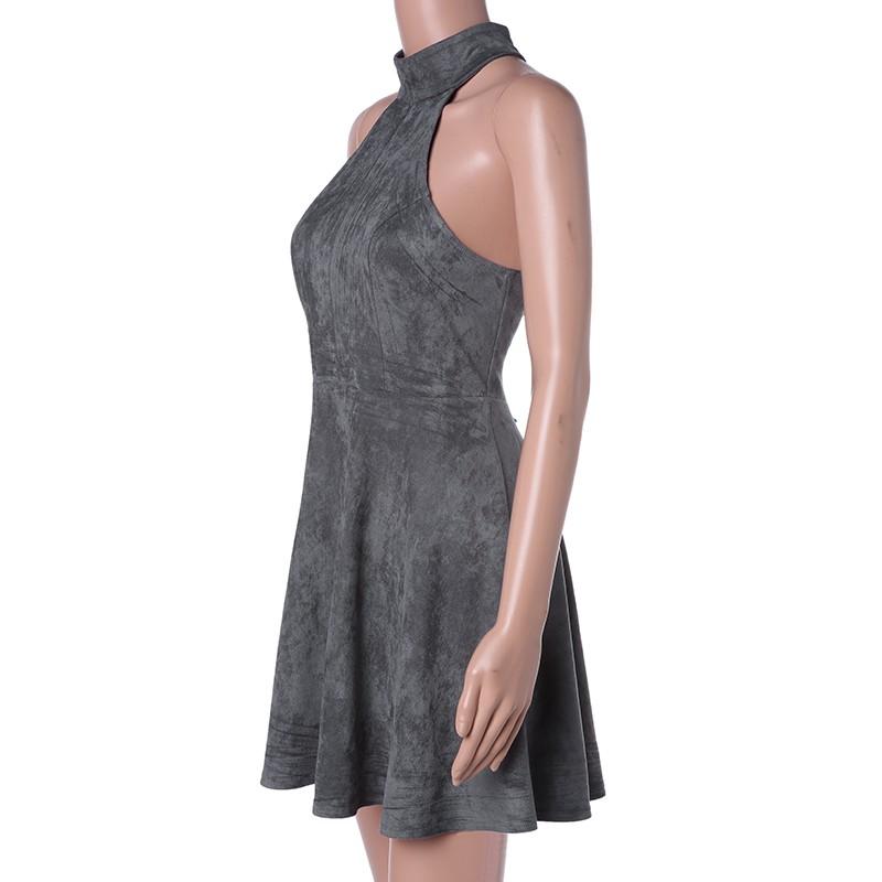 Gray Bandage A-Line Off Shoulder Backless Solid Sleeveless Mini Dress 3