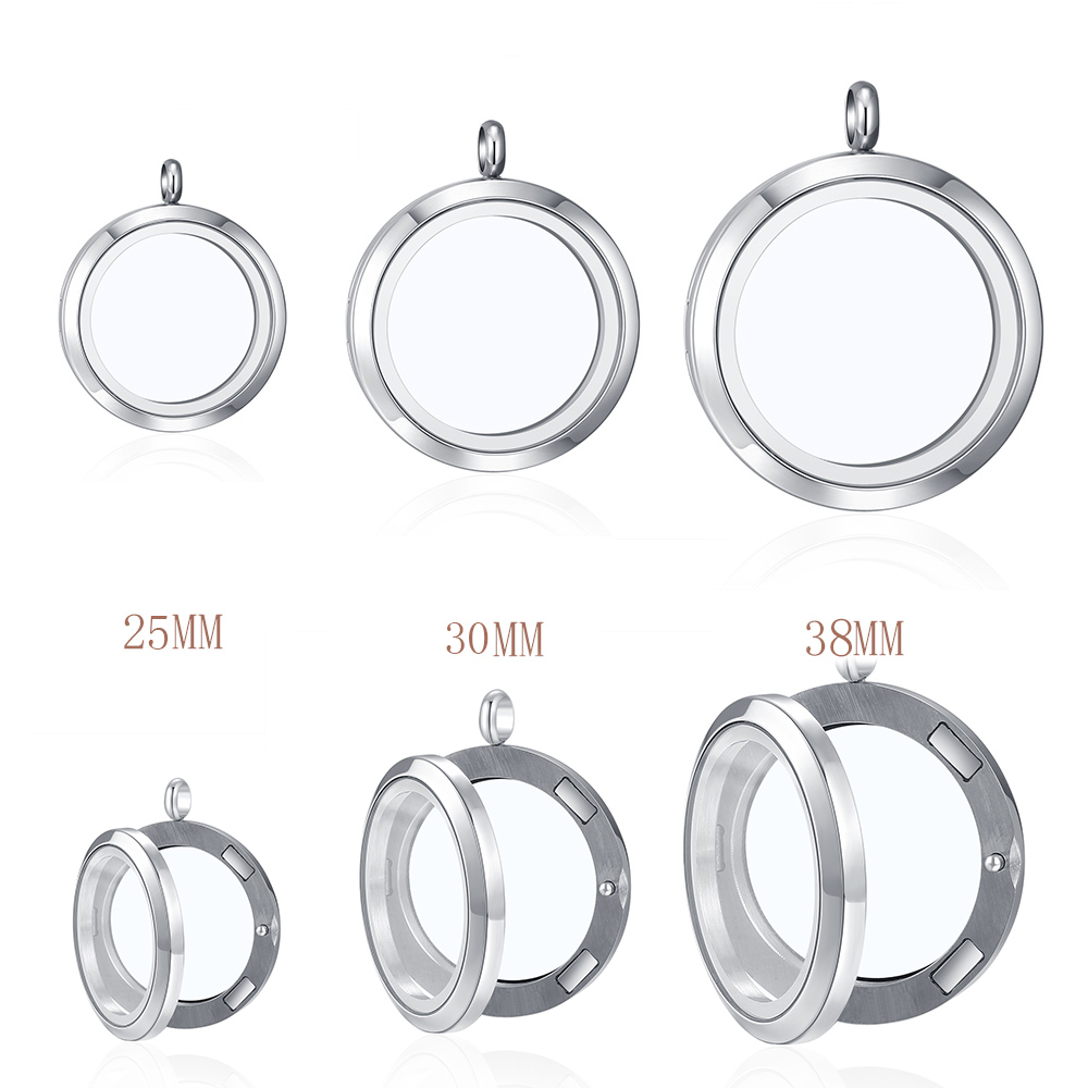 10pcs 316L Stainless Steel 25mm 30mm 38mm Magnetic Plain Glass Locket For Necklace Custom Floating Charms