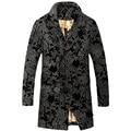 2016 de invierno de lana de alta calidad impreso larga capa de foso de los hombres, abrigo de invierno de los hombres, tamaño M, L, XL, XXL, XXXL