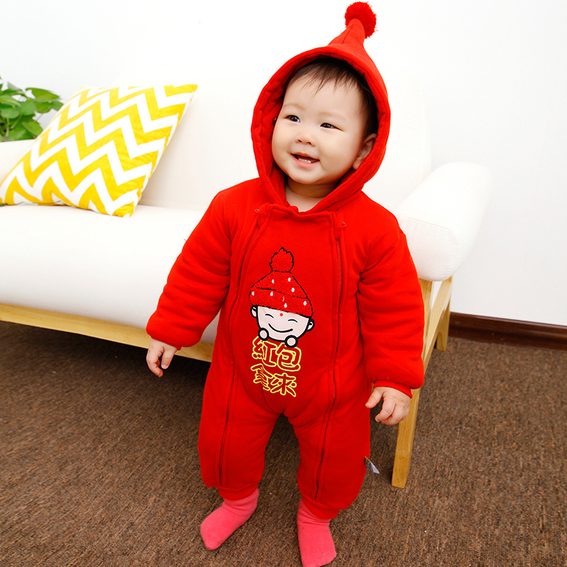 HI BLOOM Chinese New Year Baby Winter Thickened Hooded Clothes for Boys Girls Overall Cotton Long Sleeve Baby Rompers Jumpsuits cotton baby rompers set newborn clothes baby clothing boys girls cartoon jumpsuits long sleeve overalls coveralls autumn winter