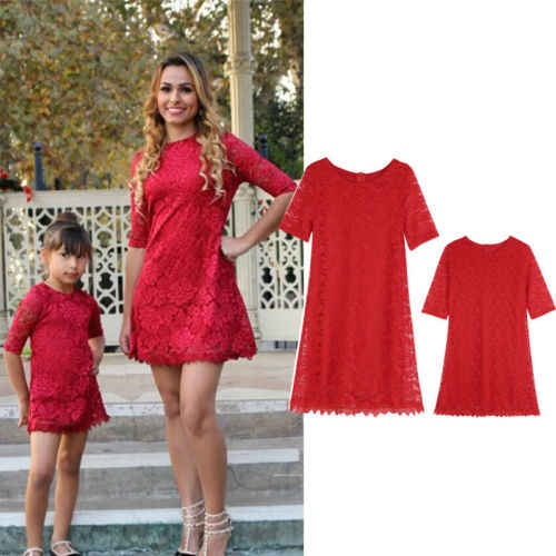 c49a6f3ab 2018 Brand New Fashion Family Matching Clothes Mother Daughter Party Dress  Women Kid Girls Solid Flower