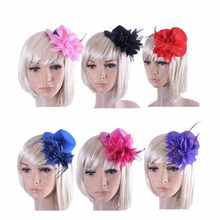 Sale Party Wedding Hair Clip Hat Colorful Flower Feather Bride Headband Princess Hair Accessories Drop Shopping Drop Shipping(China)