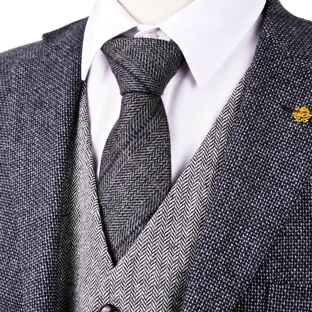 "H38 Dark Gray Grey Black 2.76"" Herringbone Tweed Wool Blend Mens Ties Dress Vests Neckties 7cm Fashion Gilet Suit Waistcoat"