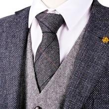 """H38 Dark Gray Grey Black 2.76"""" Herringbone Tweed Wool Blend Mens Ties Dress Vests Neckties 7cm Fashion Gilet Suit Waistcoat"""