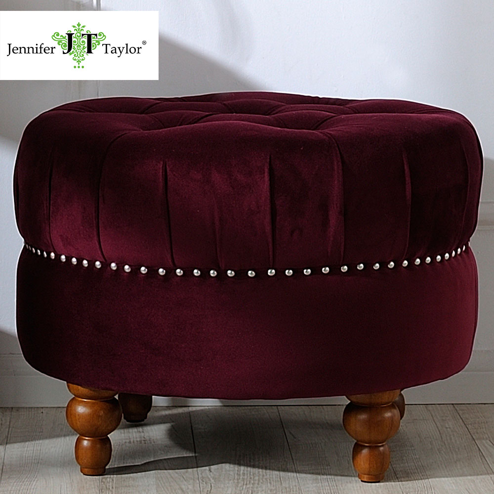Jennifer Taylor Home, Ottoman, Burgundy, Hand Tufted, Hand-Applied Nail head Trim, Wooden Legs 25D x 18H 2405-673 jennifer taylor home sofa bed hand tufted hand painted and hand rub finished wooden legs 65000 584 859 865