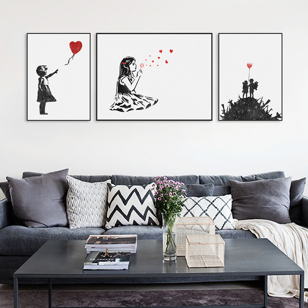 Room wall graffiti - Modern Black White Banksy Poster Print A4 Urban Graffiti Wall Art Picture Hipster Home Decor Girl