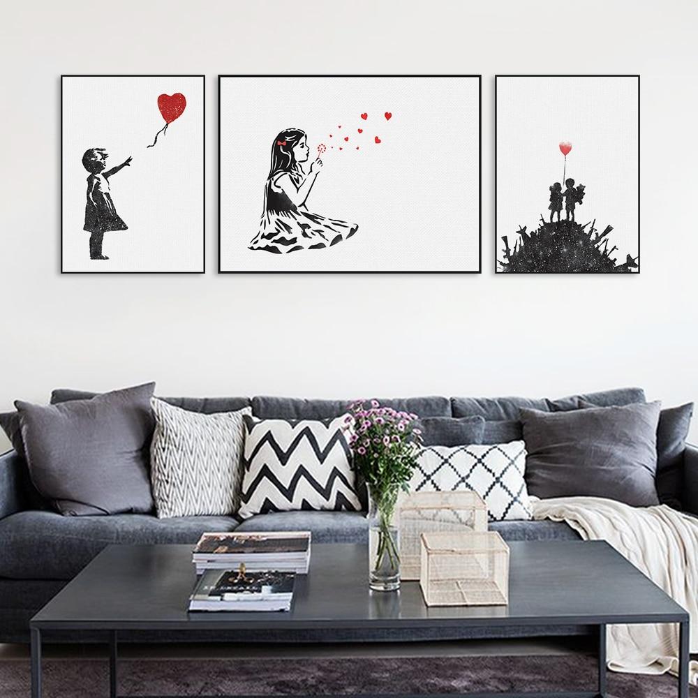 Graffiti art home decor - Modern Black White Banksy Poster Print A4 Urban Graffiti Wall Art Picture Hipster Home Decor Girl