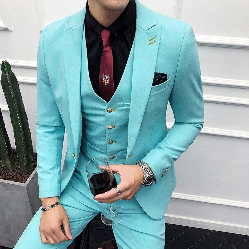(Пиджак + жилет + брюки) мужской свадебный костюм, мужские блейзеры, приталенные костюмы для мужчин, деловой вечерний классический черный/сер... - 3