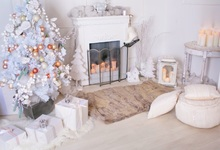 Laeacco Christmas Tree Fireplace Candle Carpet Baby Photography Backgrounds Customized Photographic Backdrops For Photo Studio