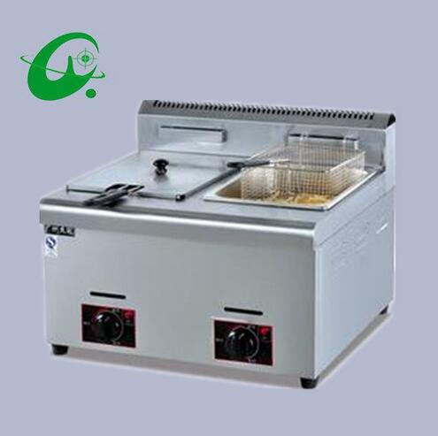 Counter Top Gas deep fat fryer 6L/tank 2 tanks 3 baskets gas chicken fryer