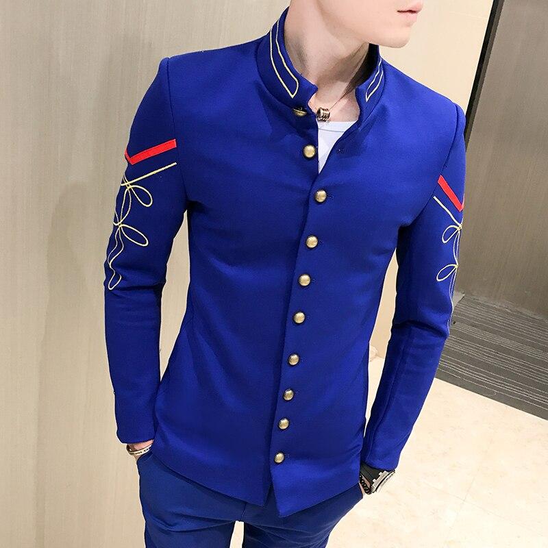4 farbe Gold Taste Chinesischen Kragen Anzug Jacke Slim Fit Herren Blazer Muster Armee Pilot Jacke Männer Schwarz Blau Rot weiß Blazer - 4