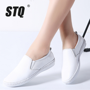 Image 1 - STQ 2020 Autumn Women Flats Shoes Ballerina Flats Leather Oxford Shoes For Women White Slip On Ballet Flats Loafers Shoes 9371