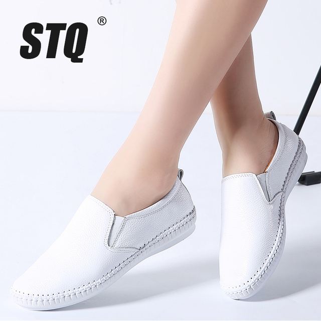 STQ 2020 Autumn Women Flats Shoes Ballerina Flats Leather Oxford Shoes For Women White Slip On Ballet Flats Loafers Shoes 9371