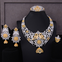 SisCathy Charms Big Statement Flower Jewelry Sets For Women Wedding Party Dress Indian Bridal Cubic Zircon CZ Jewelry Sets 2019 цена 2017