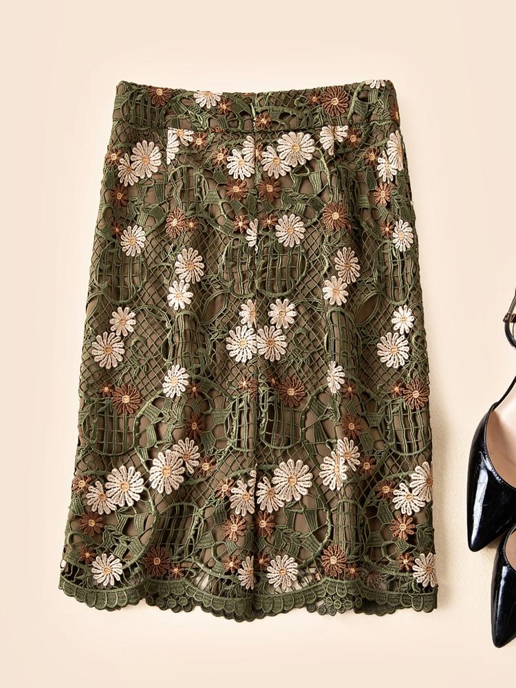 Falda Militar Primavera Bordado Floral Slim Moda Ziwwshaoyu Nuevo Verde Encaje Faldas Y Elegante De Mujeres Verano S8RzZq