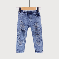 Fashion Unisex Summer Broken Hole Pants Trousers Baby Boys Girls Jeans Clothes Elastic Waist Britches Clothing For Kids Children