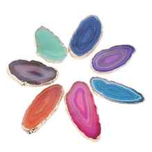 Agate Slice Luxury Stone Landscape Gold-Plated Edge Natural Agate Gemstones Home Accessories Palette Beautiful Stone цены