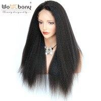 360 Kinky Straight Wig Italian Yaki Human Hair Wigs With Baby Hair Lace Wig 4.5 Inch Brazilian Hair Remy Full End Hair WoWEbony