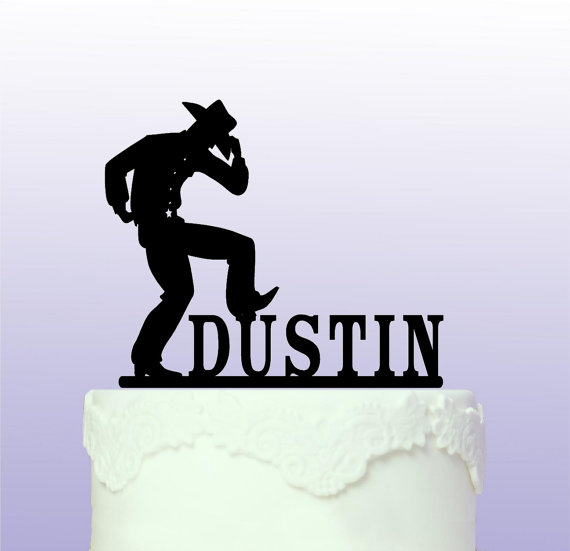 Acryli Cowboy Western Custom Name Birthday Cake Toppers Wedding Bridal Baby Shower Bachelor Party Theme