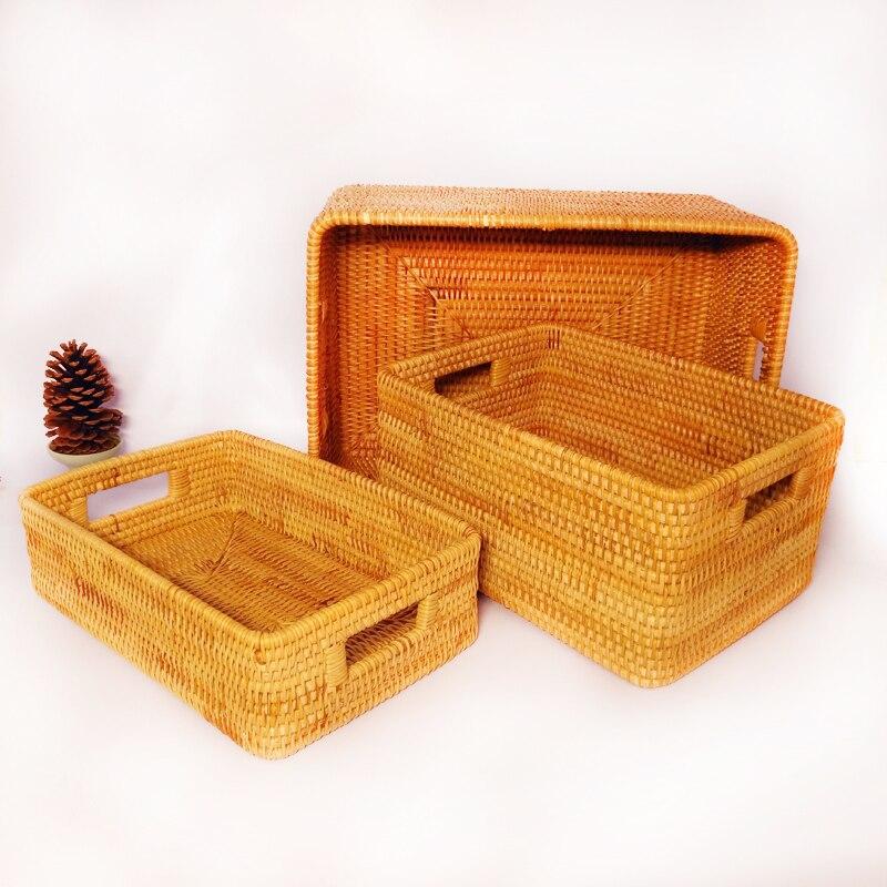 Vietnam rattan storage basket desktop coffee table clothing rattan woven storage box fruit snack basket storage box in Storage Baskets from Home Garden