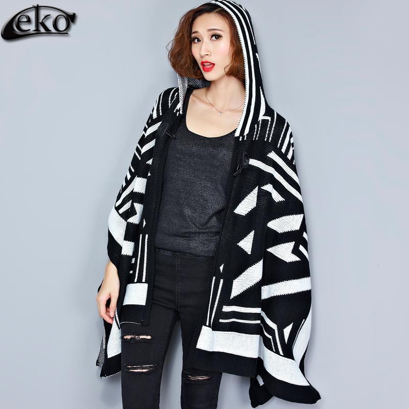 Oversize Hooded Women Coat Retro Cardigan Casual Shawl Fashion Trench Coats Loose Cloak Kint Sweater Coats