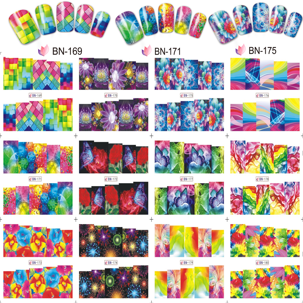 12 Sheets/Set Flower/Geometry Stickers Nail Art Water Transfers Decals Wraps Pattern Transfer Sticker BN171-180