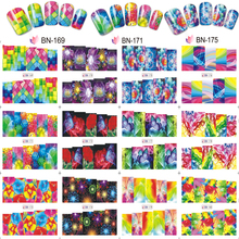 цена на 12 Sheets/Set Flower/Geometry Stickers Nail Art Water Transfers Decals Wraps 12 Pattern Water Transfer Nail Sticker BN171-180