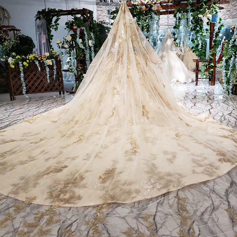 Image 2 - HTL393 luxury golden lace wedding dress with wedding veil o neck long sleeve v back princess bridal dresses golden beads mariage-in Wedding Dresses from Weddings & Events