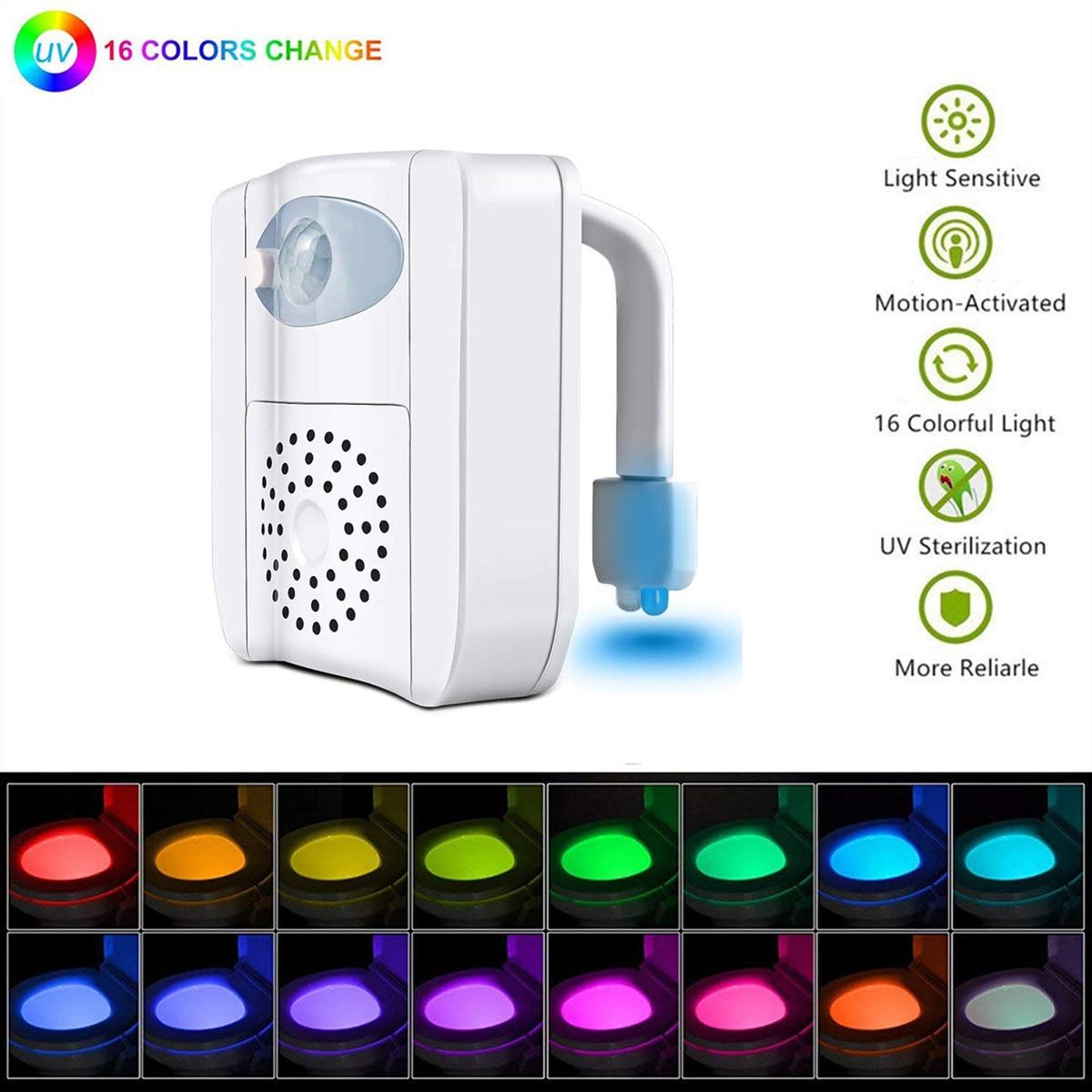 Подсветка для сиденья унитаза ночник УФ Дезинфекция умный датчик движения 16 цветов водонепроницаемая подсветка для унитаза чаши светодиод...