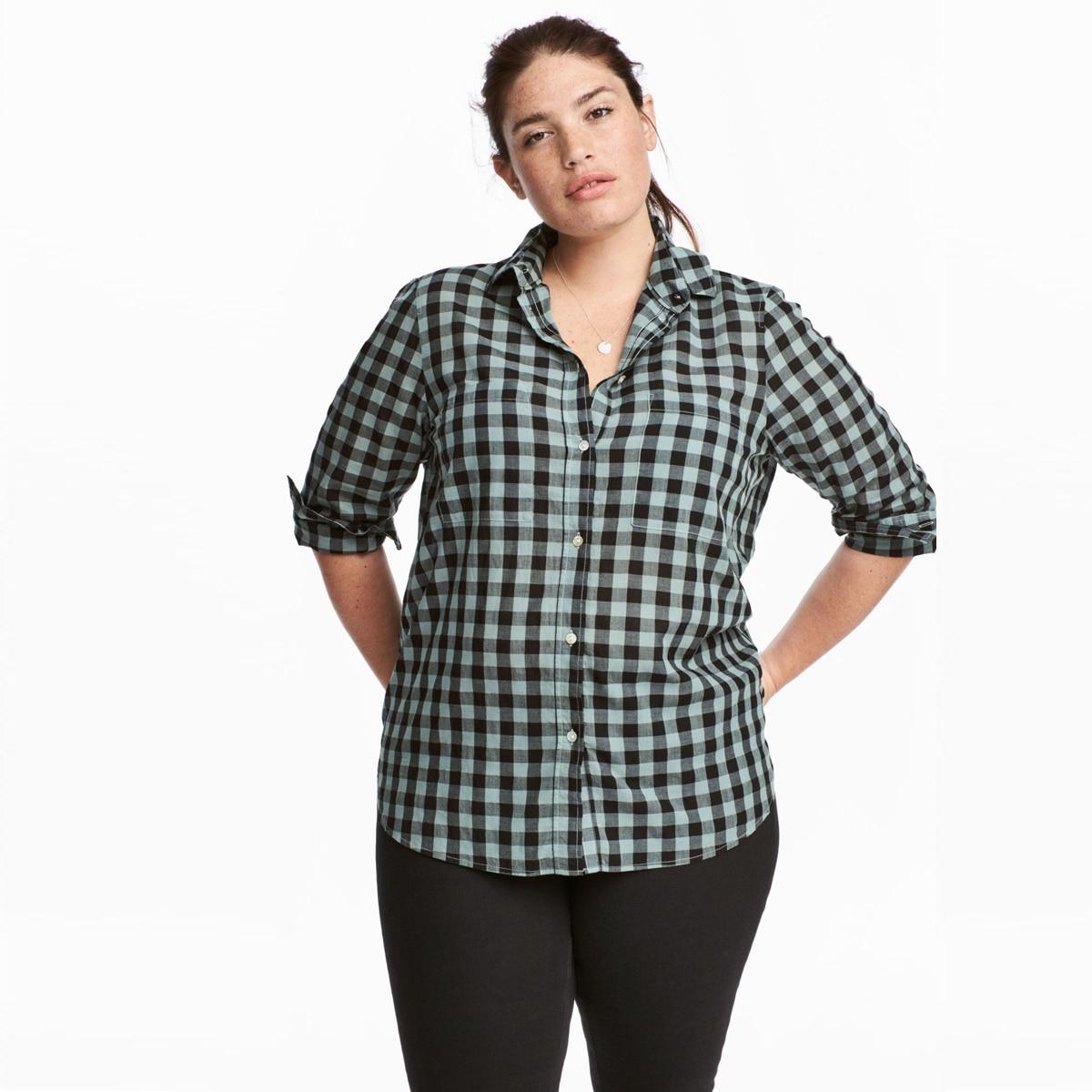 MCO Autumn Basic Plus Size Check Top For Office Ladies Simple Oversized Women Blouse Classic Plaid Shirt Big Size 5xl 6xl 7xl 2