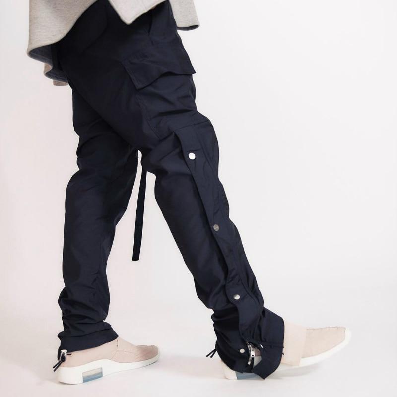 19SS Latest TOP High Street Japan Hip-hop Fog Style Men Side Snap Zipper Cargo Pants Leisure Trousers 1:1 Waistband Streetwear