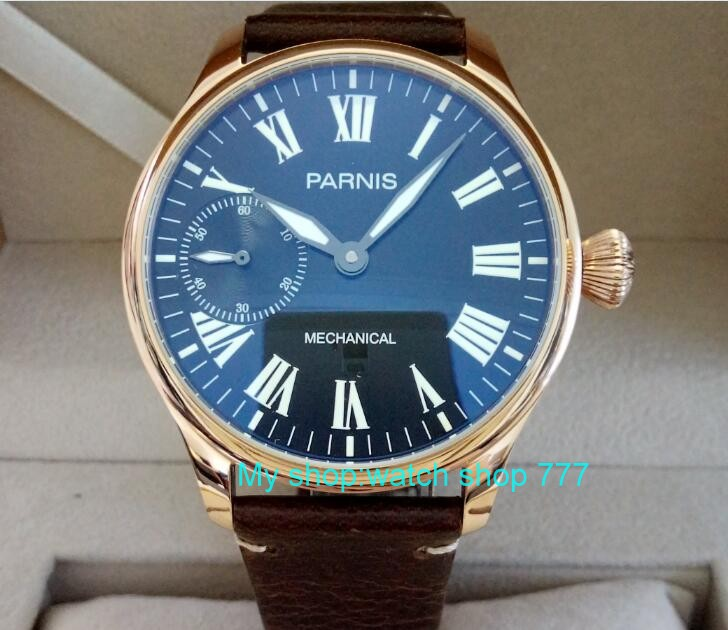 44mm PARNIS black dial asian 6497/ST3600  Mechanical Hand Wind movement men's watch luminous Mechanical watches dfg01 limited edition watch 50mm big dial parnis men s watch asian 6498 mechanical hand wind pvd black watchcase 84aa