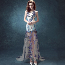 Yaz Elbise Boyama Dantel Mermaid Abiye Dubai Abaya Amaçlar Elbise Parti Törenlerinde robe de soiree 2016 Arapça Elbise SD307