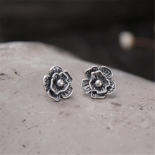 Authentic 100% 925 Sterling Silver Vintage Black 14MM Flower Stud Earrings For Women Fine Jewelry