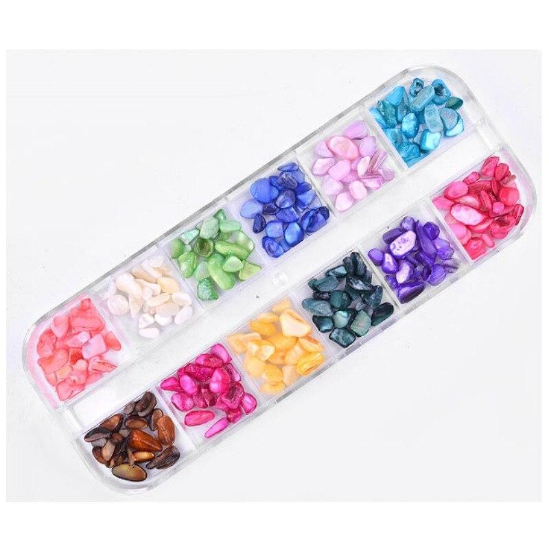 Купить 12 цветов/коробка оболочки дробленые камни гравий хлопья натуральные