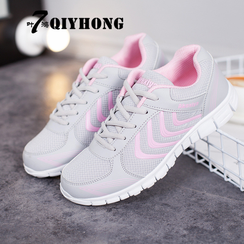 QIYHONG Women Shoes Zapato Woman Breathable Mesh Zapatillas Shoes Casual For Women Network Soft Casual Shoes FlatsLshoes woman wgznyn 2018 new summer zapato woman breathable mesh zapatillas shoes for women sneakers casual shoes flats eur size 35 40