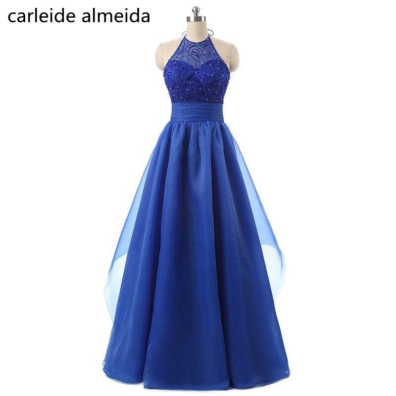 A-Line Halter Organza Royal Blue   Prom     Dress   Bead Bodice Gala jurken Floor Length Vestido de formatura longo Women Formal   Dress