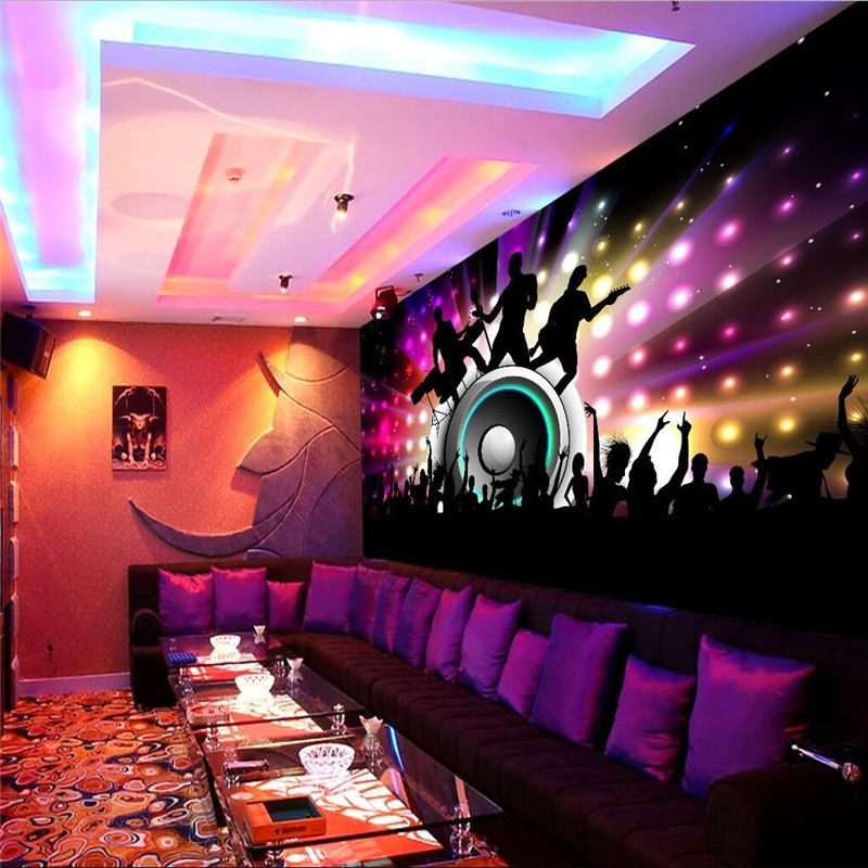 Wall decor paper 3d dance club sexy body disco bar ktv of for Club de suscriptores mural