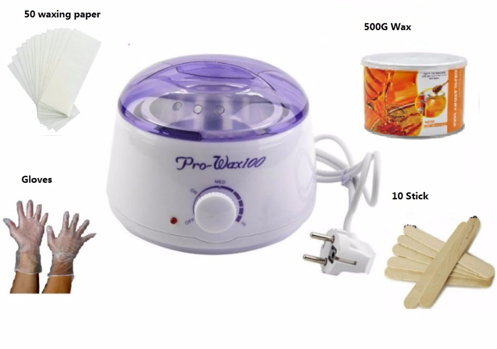 Épilateur epilation-chauffe cire chauffe + paraffine cire + 50 bandes de papier epilation + gants + 10 spatules epilation