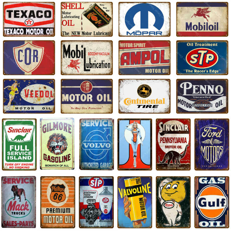 Motor Oil Metal Signs Motorcycle Car Trucks Garage Decor Vintage Tin Poster Plate Hotel Pub Home Art Craft Wall Decoration
